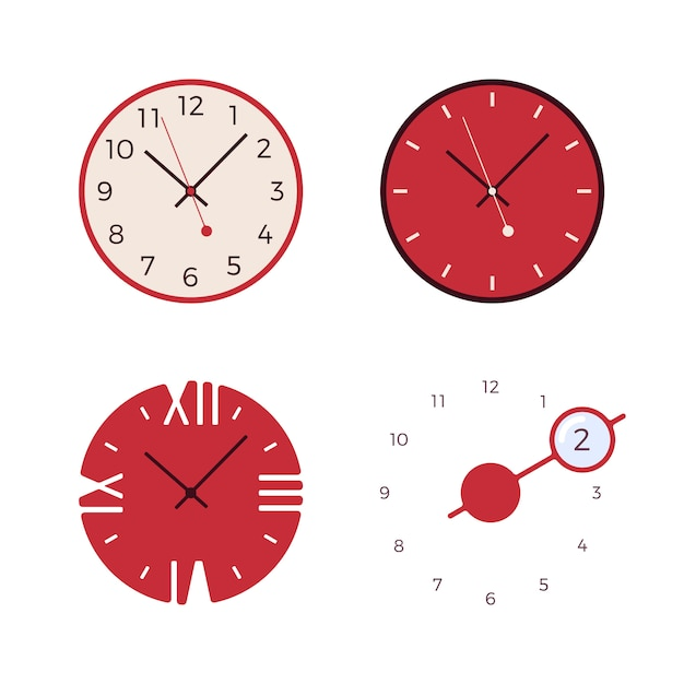 Ensemble de quatre horloges murales rétro Vecteur Premium
