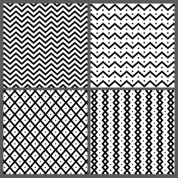 Ensemble de quatre motifs synthétiques abstraits dessinés à la main avec des textures en zigzag, en bandes ondulées et en lignes. Vecteur gratuit
