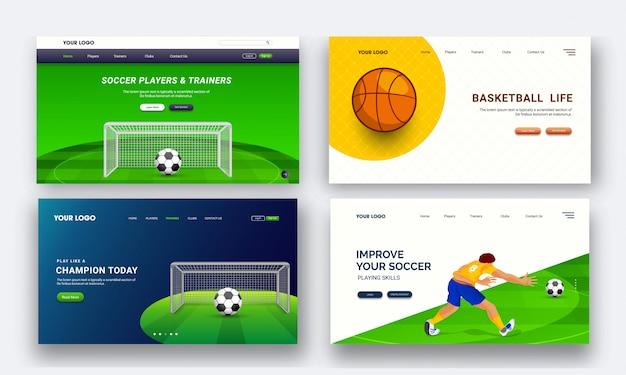 Ensemble de quatre pages de destination pour les tournois sportifs en direct Vecteur Premium