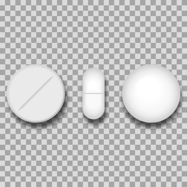 Ensemble de quatre pilules blanches réalistes de différents vecteurs Vecteur Premium