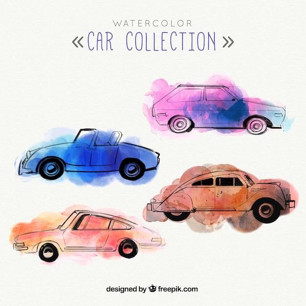 Ensemble de quatre voitures d'aquarelle Vecteur gratuit