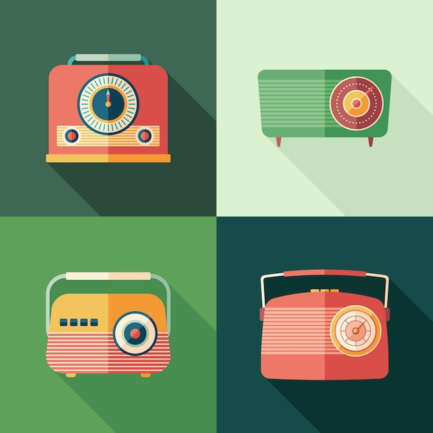 Ensemble de radios plates icônes carrées plates avec longues ombres. Vecteur Premium