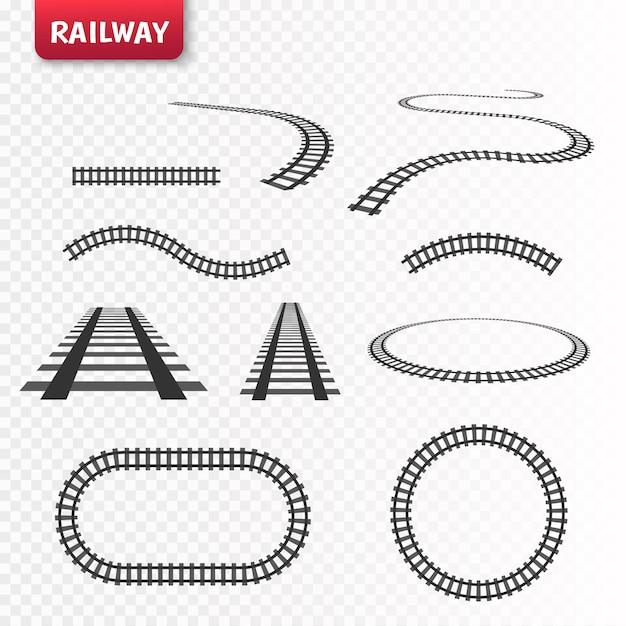 Ensemble De Rails Vectoriels. Chemin De Fer Isolé Vecteur Premium
