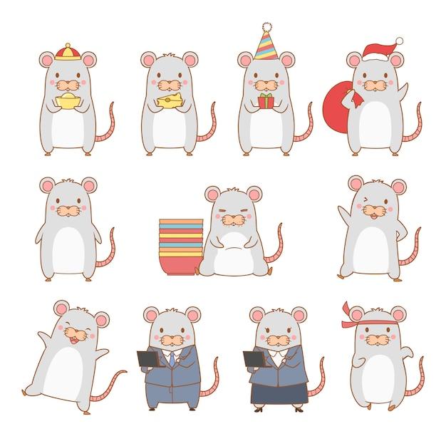 Ensemble De Rat De Dessin Animé Dans Des Poses Différentes. Année Du Rat. Vecteur Premium