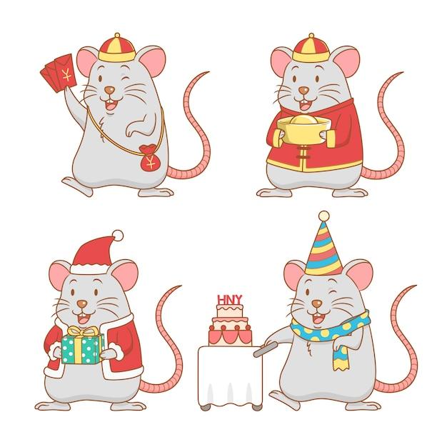 Ensemble de rats de dessin animé mignon pour le nouvel an Vecteur Premium