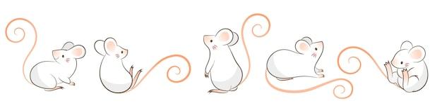 Ensemble De Rats Dessinés à La Main, Souris Dans Différentes Poses, Style Cartoon Doodley. Vecteur Premium