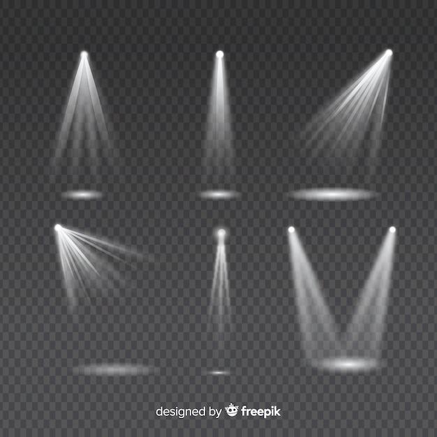 Ensemble de rayons lumineux pour l'éclairage blanc sur transparent Vecteur gratuit