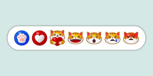 Ensemble De Réaction De Chat Emoji De Médias Sociaux Vecteur Premium