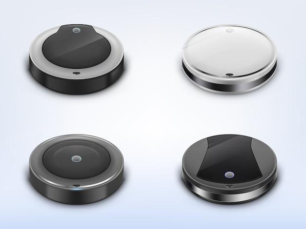 Ensemble réaliste avec aspirateurs robotiques, robots ronds intelligents utilisant pour le ménage Vecteur gratuit