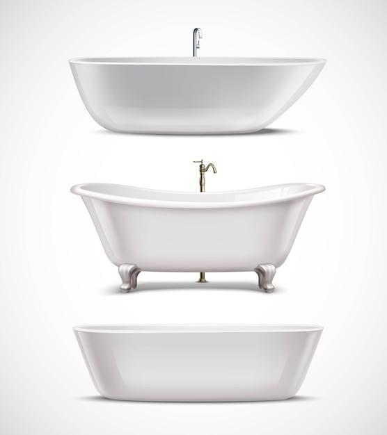 Ensemble réaliste de baignoires Vecteur gratuit