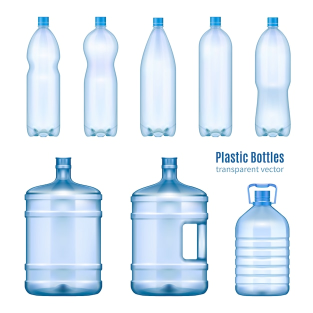 Ensemble Réaliste De Bouteilles D'eau En Plastique Vecteur gratuit
