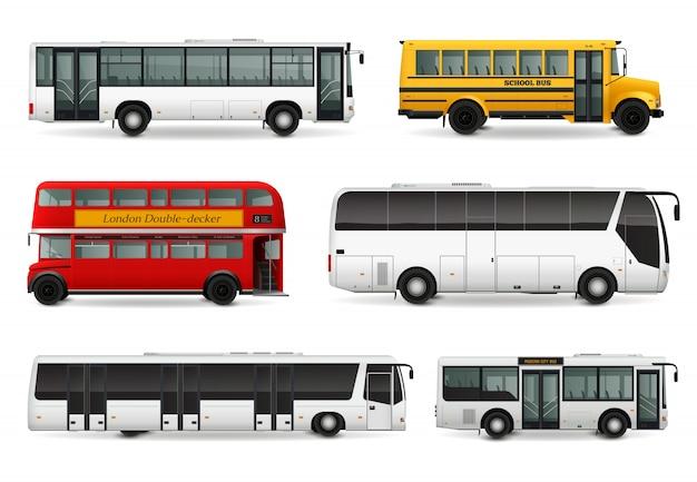Ensemble réaliste de bus Vecteur gratuit