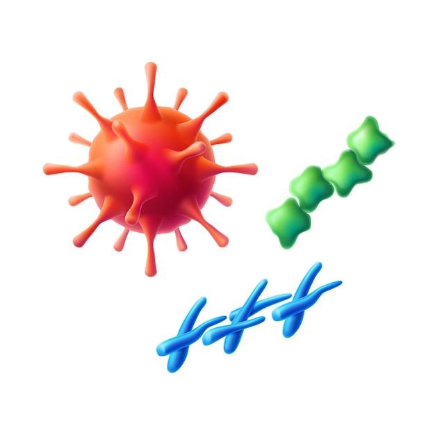 Ensemble Réaliste De Cellules De Sphère De Coronavirus, De Bactéries Et De Microbes. Symbole De La Grippe Pathogène Rouge Et De L'infection Covid. Bactérie épidémique, Contamination Par Maladie. Symbole De La Recherche Médicale Bio Scientifique Vecteur Premium