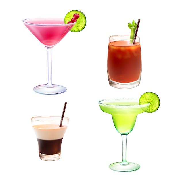 Ensemble réaliste de cocktail Vecteur gratuit