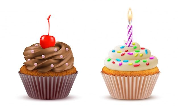Ensemble Réaliste De Cupcake. Pâtisserie, Confiserie, Gâteau Sucré D'anniversaire. Vecteur Premium