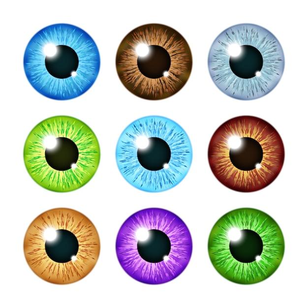 Ensemble réaliste d'élèves d'iris de globe oculaire multicolore Vecteur Premium