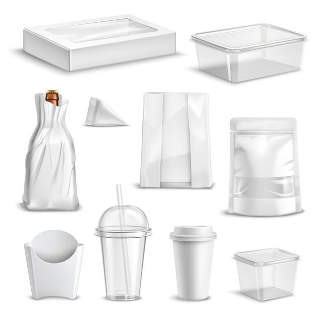 Ensemble réaliste d'emballage alimentaire vide Vecteur gratuit