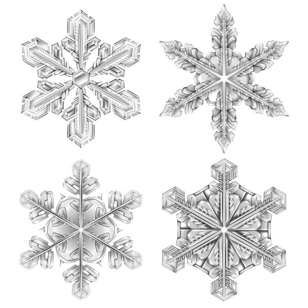 Ensemble réaliste de flocon de neige noir et blanc Vecteur gratuit