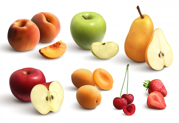 Ensemble Réaliste De Fruits Coupés Vecteur gratuit