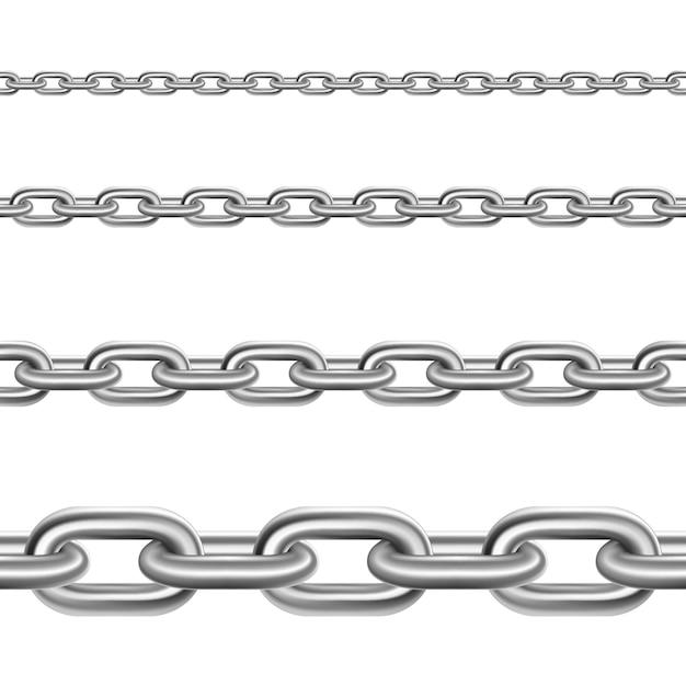 Ensemble réaliste horizontal de chaînes en acier Vecteur gratuit