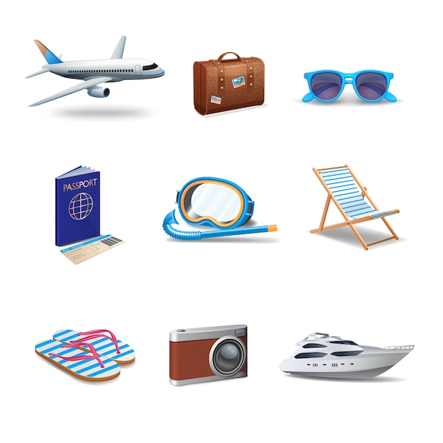 Ensemble réaliste d'icônes de voyage Vecteur gratuit