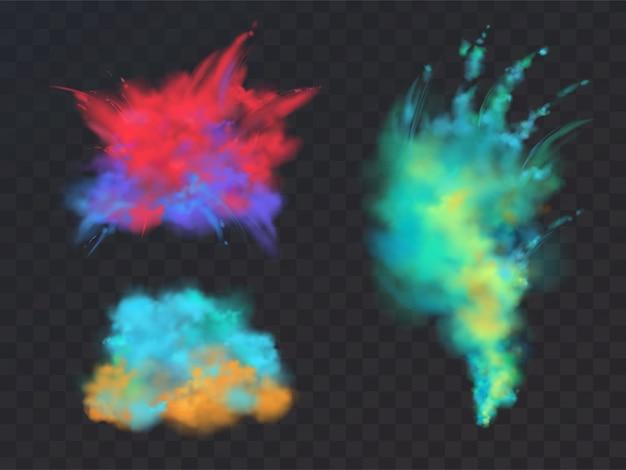 Ensemble réaliste de nuages colorés de poudre ou d'explosions, isolé sur fond transparent. Vecteur gratuit