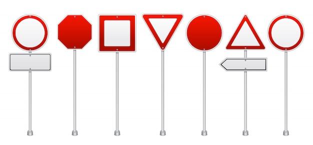 Ensemble Réaliste De Panneaux De Signalisation Rouge Vecteur gratuit