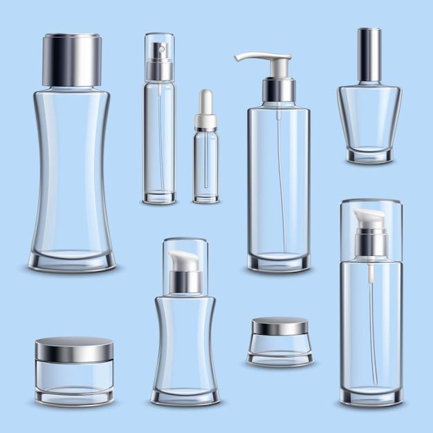 Ensemble réaliste de paquet de verre de cosmétiques Vecteur Premium