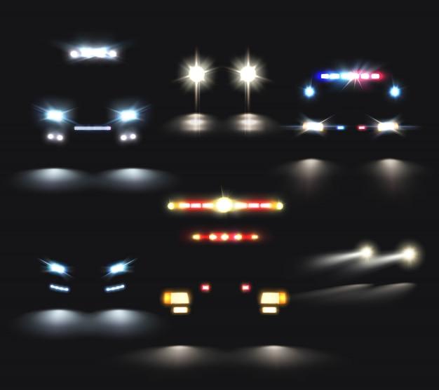 Ensemble réaliste de phares de voitures Vecteur gratuit