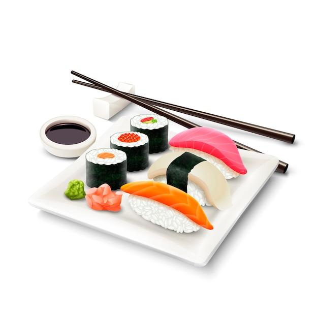 Ensemble Réaliste De Sushi Vecteur gratuit