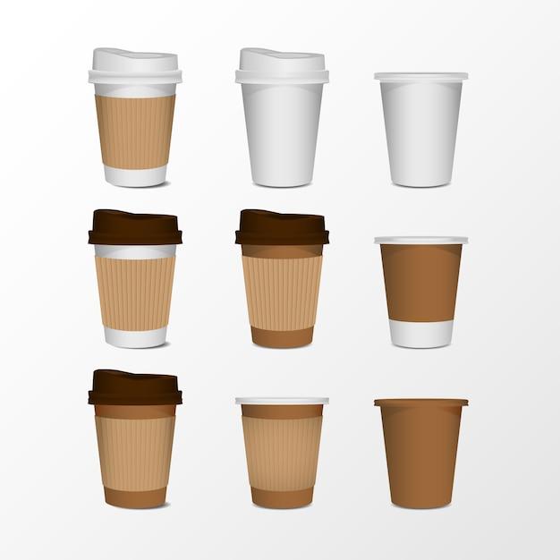 Ensemble réaliste de tasse à café papier blanc isolé sur fond blanc. Vecteur Premium