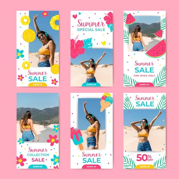 Ensemble de récits instagram de vente d'été Vecteur gratuit
