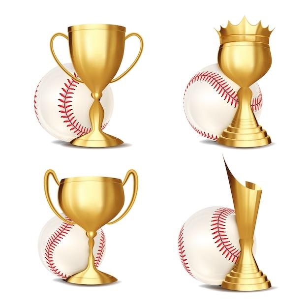 Ensemble de récompense de jeu de baseball Vecteur Premium