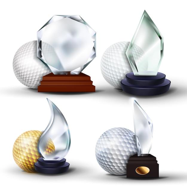 Ensemble de récompense de jeu de golf Vecteur Premium