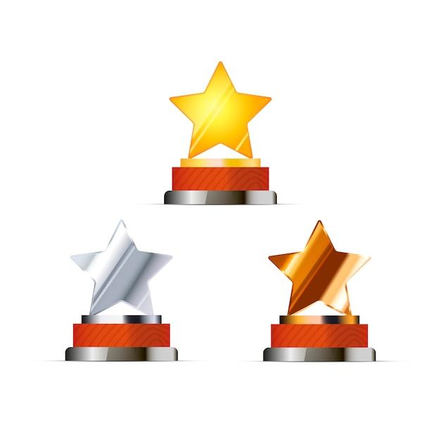 Ensemble de récompenses pour les gagnants avec des étoiles d'or, d'argent et de bronze isolés Vecteur Premium