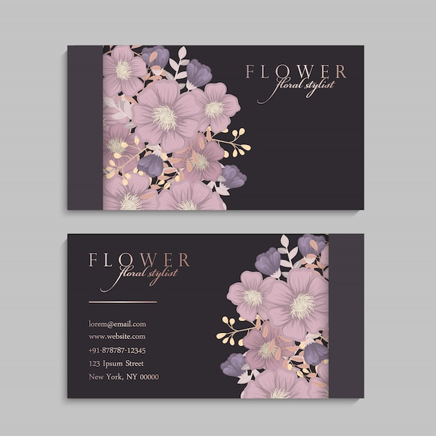 Ensemble de recto et verso de la carte de visite avec des fleurs Vecteur gratuit