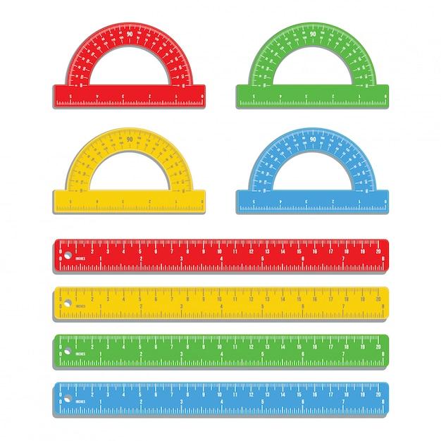 Ensemble de règles colorées réalistes marquées en pouces et en centimètres avec des rapporteurs colorés isolés sur blanc Vecteur Premium