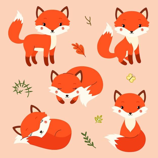 Ensemble de renards de dessin animé mignon dans un style plat simple moderne. Vecteur Premium