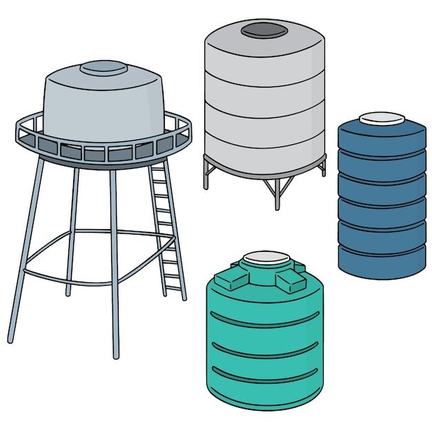 Ensemble de réservoir de stockage d'eau Vecteur Premium