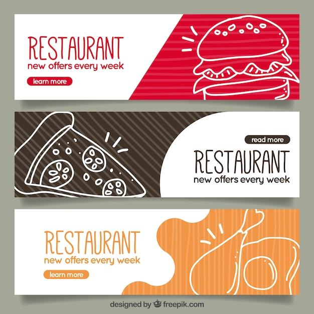 Ensemble De Restaurants Bannières Avec Des Croquis Alimentaires Vecteur gratuit