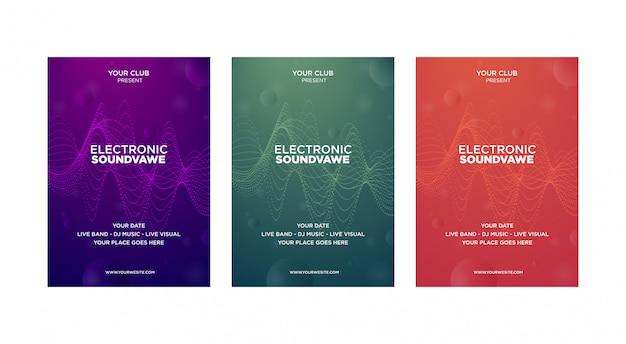Ensemble de résumé moderne du modèle de conception de la couverture de musique. les ondes futuristes sont déformées avec une ligne à points Vecteur Premium