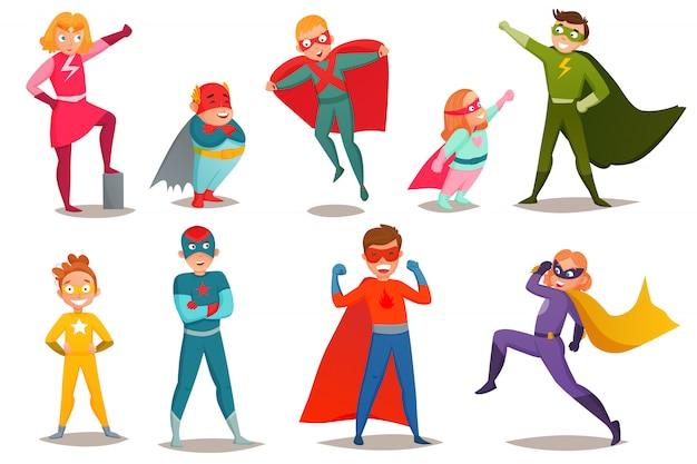 Ensemble retro kids superheroes Vecteur gratuit