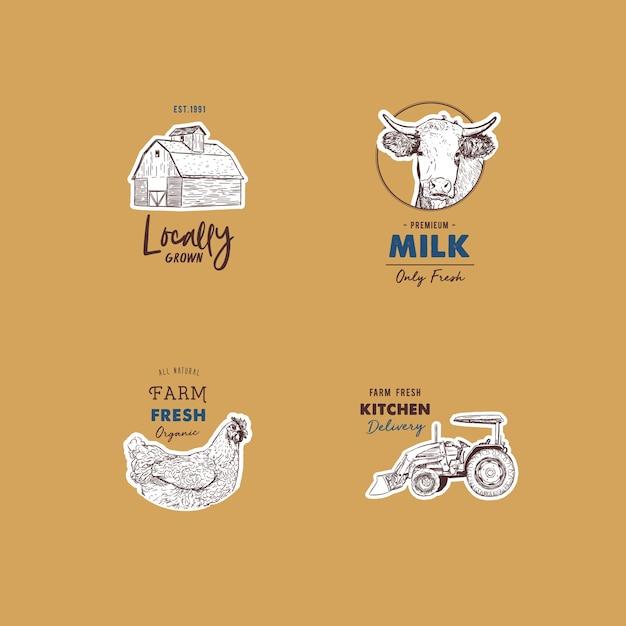 Ensemble rétro de vecteur de logotypes frais de la ferme. Vecteur Premium