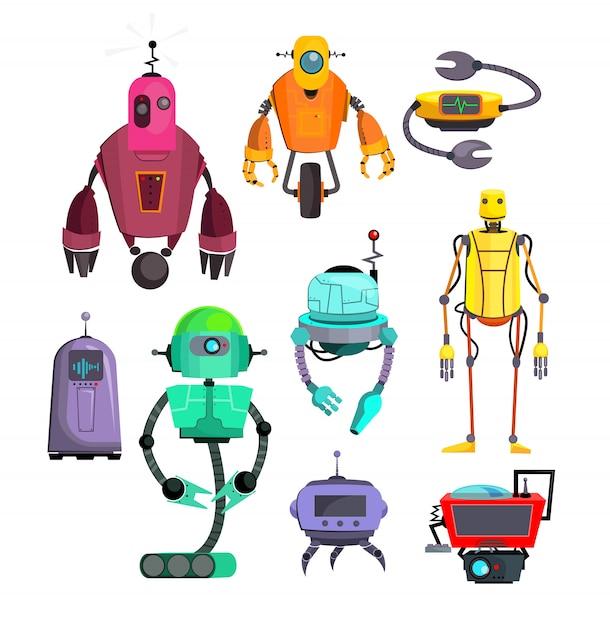 Ensemble de robots colorés Vecteur gratuit
