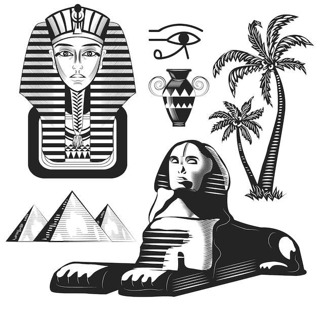 Ensemble De Roches égyptiennes, Pharaon, Palmiers Isolés Sur Blanc. Vecteur Premium