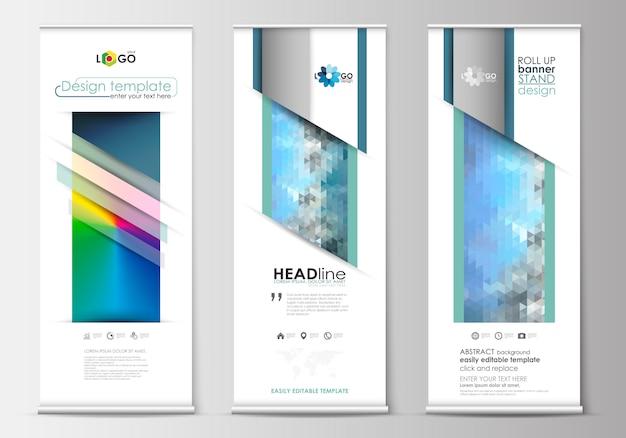 Ensemble De Roll Up Banner Stands, Modèles De Conception Plate, Style Géométrique Avec Dégradé De Maille Vecteur Premium