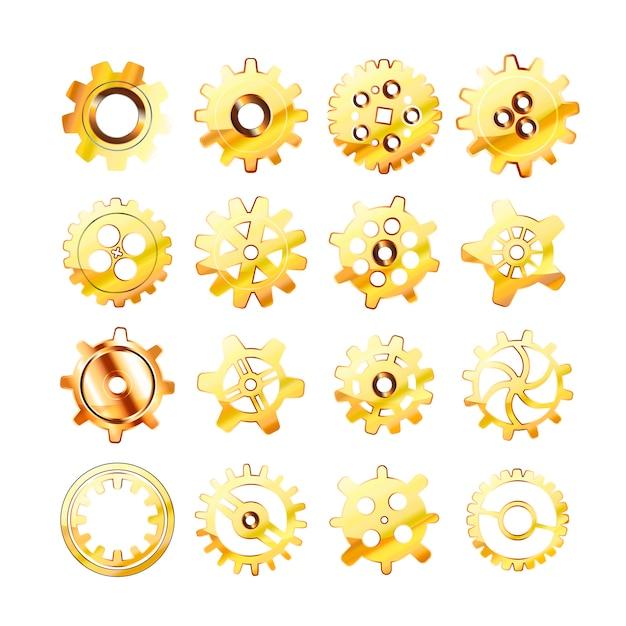 Ensemble de roues dentées dorées brillantes réalistes sur blanc Vecteur Premium