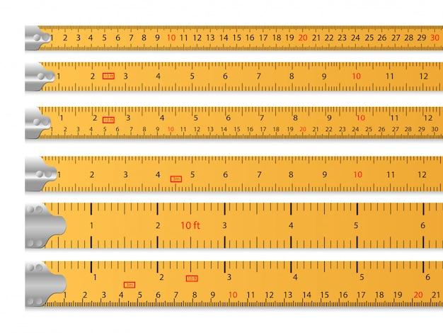 Ensemble de ruban à mesurer Vecteur gratuit