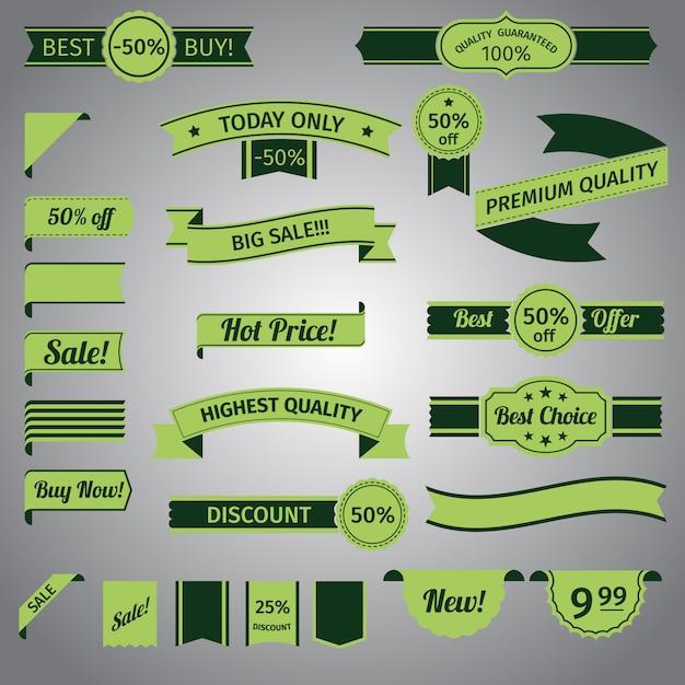 Ensemble ruban vert discount Vecteur gratuit