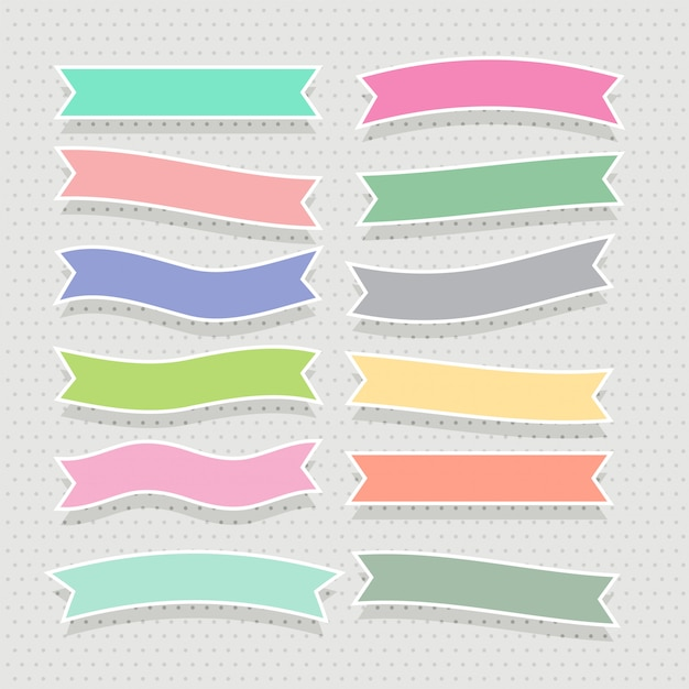 Ensemble de rubans colorés doux mignons Vecteur gratuit